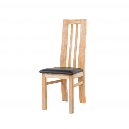 Masívne jaseňová stolička Oslo s čiernou koženkou