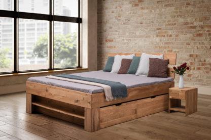 Dubová masívna posteľ 180 x200 cm s 4 úložnými šuplíky