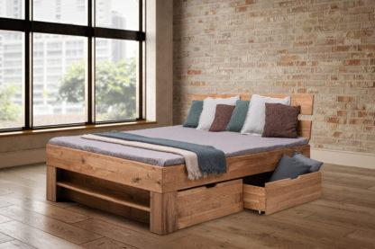 Dubová masivní postel 180 x200 cm s 4 úložnými šuplíky