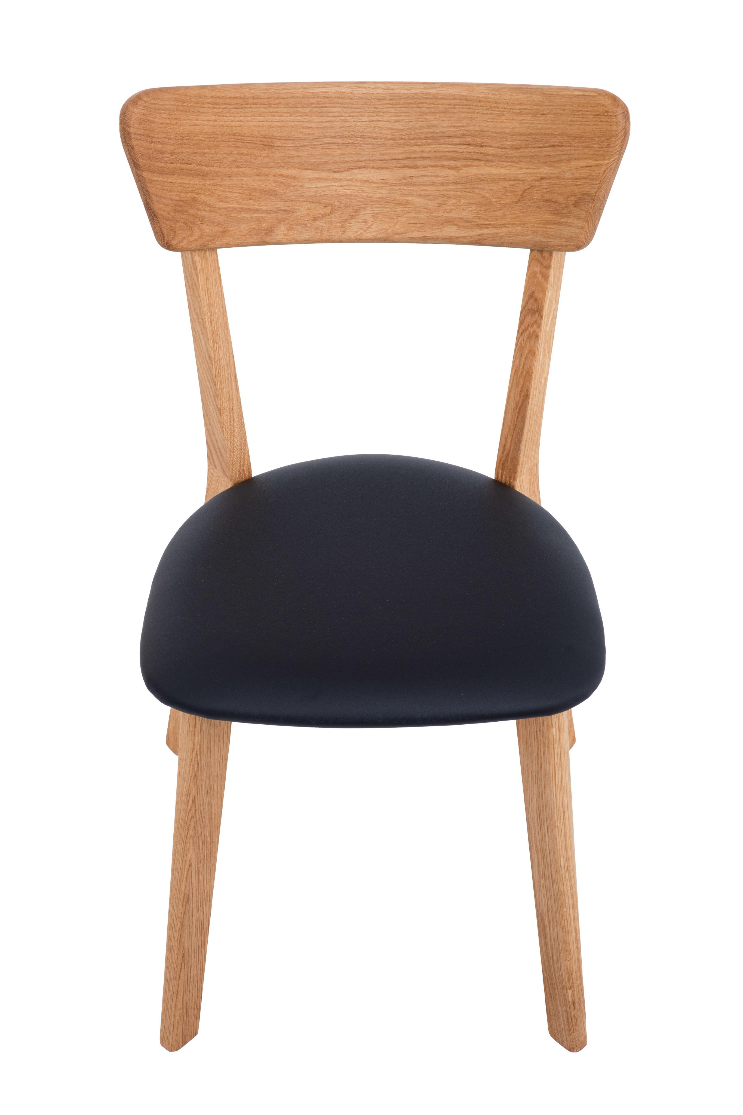 Dubová olejovaná stolička Alexis čierna koženka