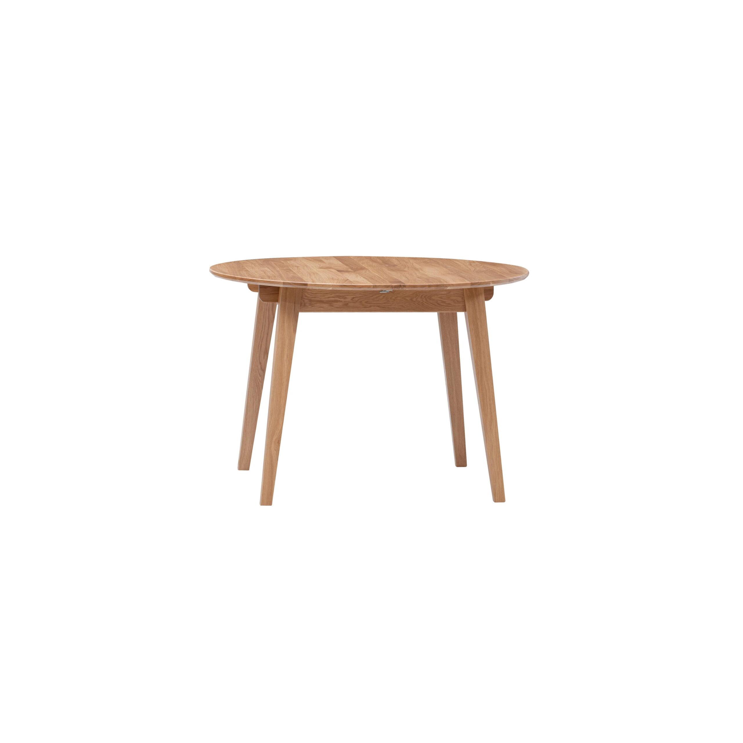 Masívny dubový lakovaný okrúhly rozkladací jedálenský stôl Genova