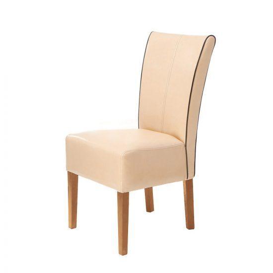 Dubová polstrovaná židle Herman s béžovým polstrováním