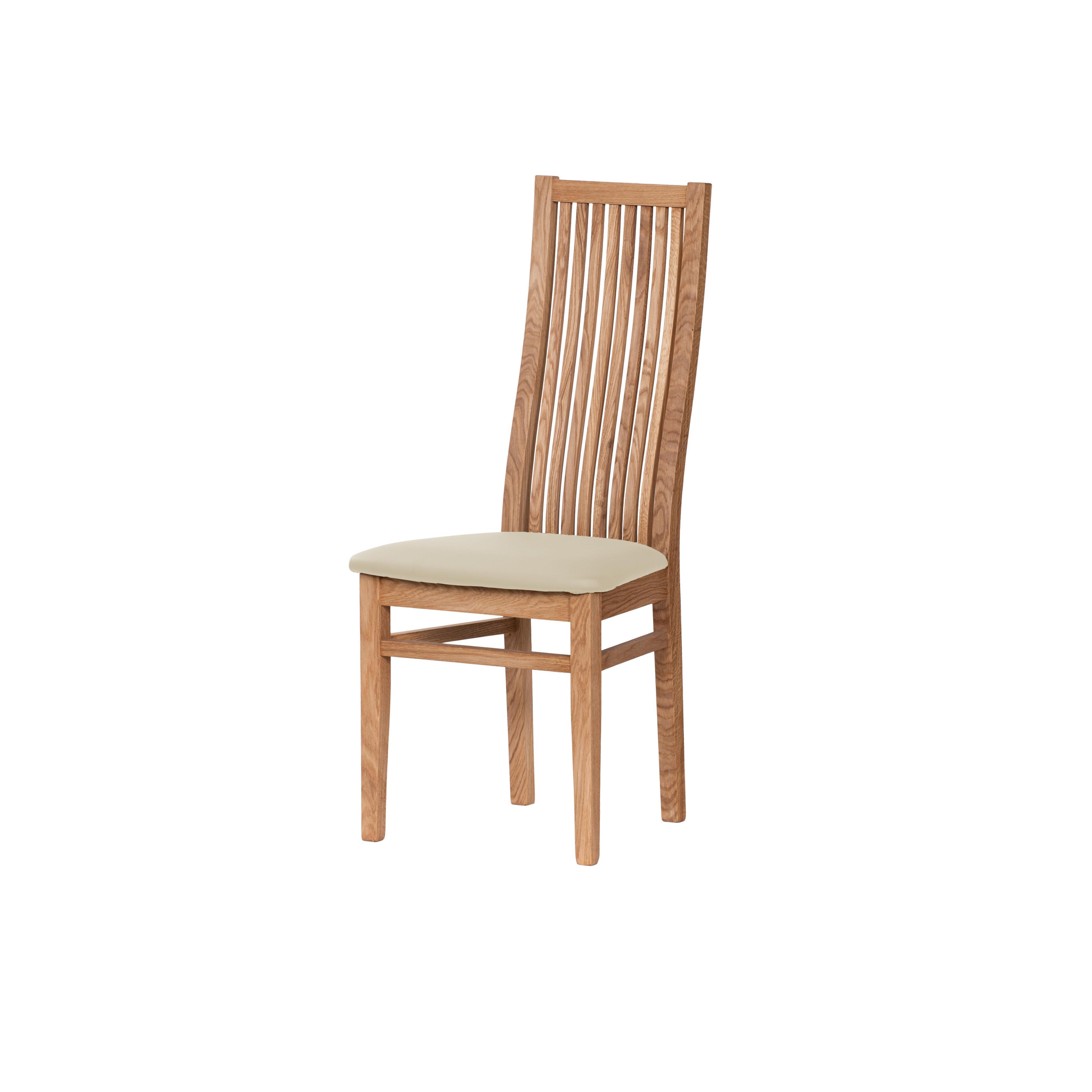 Dubová olejovaná stolička Sandra s čiernou koženkou