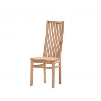 Dubová olejovaná židle Herman s hnědou koženkou LIKVIDACE