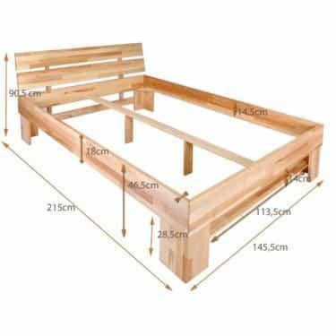 Dubová masivní postel 140 x200 cm s 4 úložnými šuplíky, včetně roštů