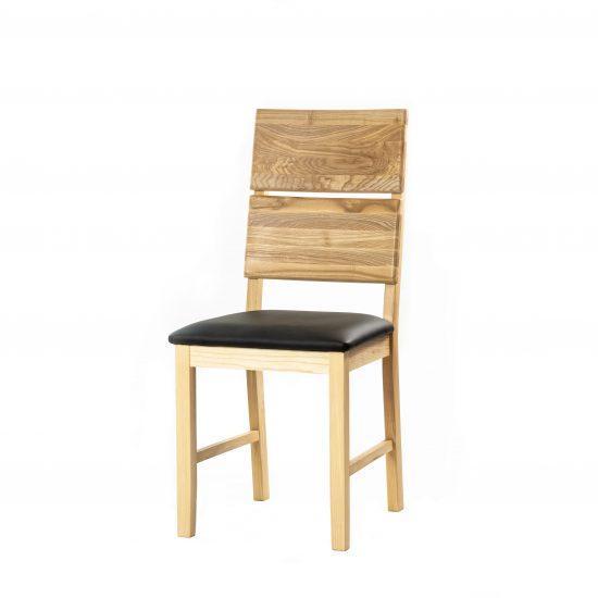 Masivní jasanová židle Karla s černou koženkou