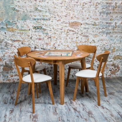 Masivní dubový kulatý rozkládací jídelní stůl Genova (více variant velikostí)