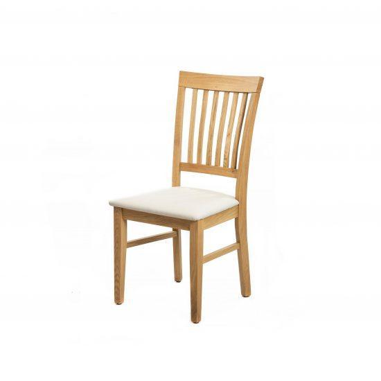 Dubová lakovaná židle Raines s bílou koženkou