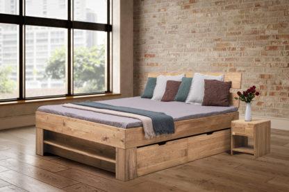 Buková masivní postel 140 x200 cm s 4 úložnými šuplíky, včetně roštů