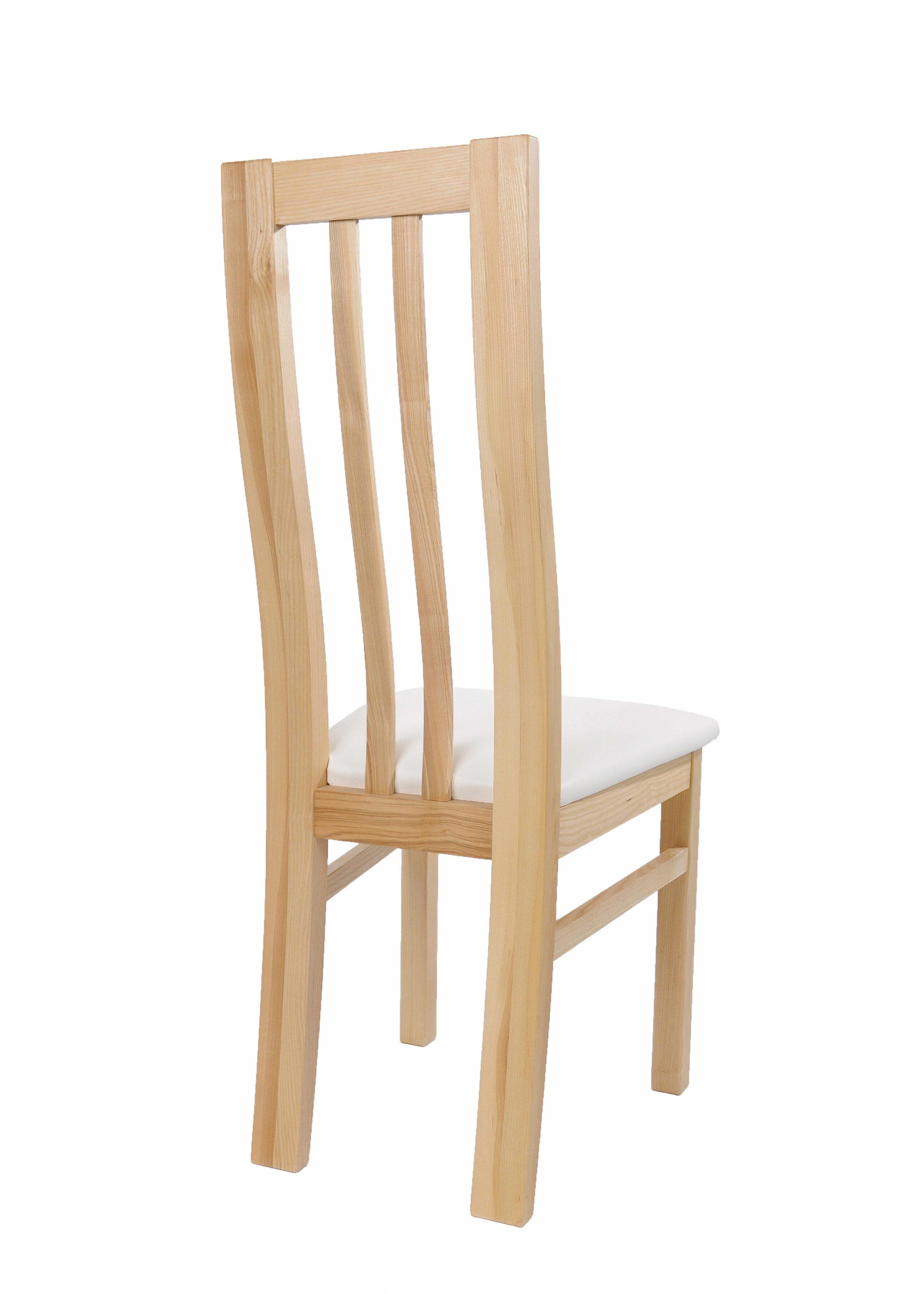 Masívne jaseňová stolička Oslo s bielou koženkou