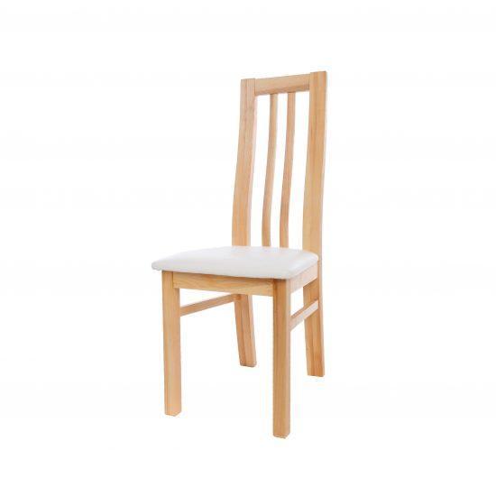 Masivní jasanová židle Oslo s bílou koženkou
