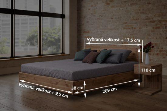 Dubová masivní postel Pavla, včetně roštu a úložného prostoru