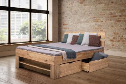 Buková masivní postel 180 x200 cm s 4 úložnými šuplíky, včetně roštů