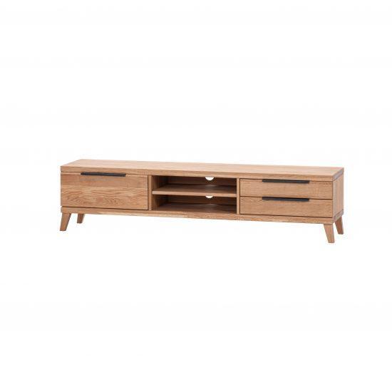 Masivní dubová TV komoda 3Z 2P s kovovými/dřevěnými nohami