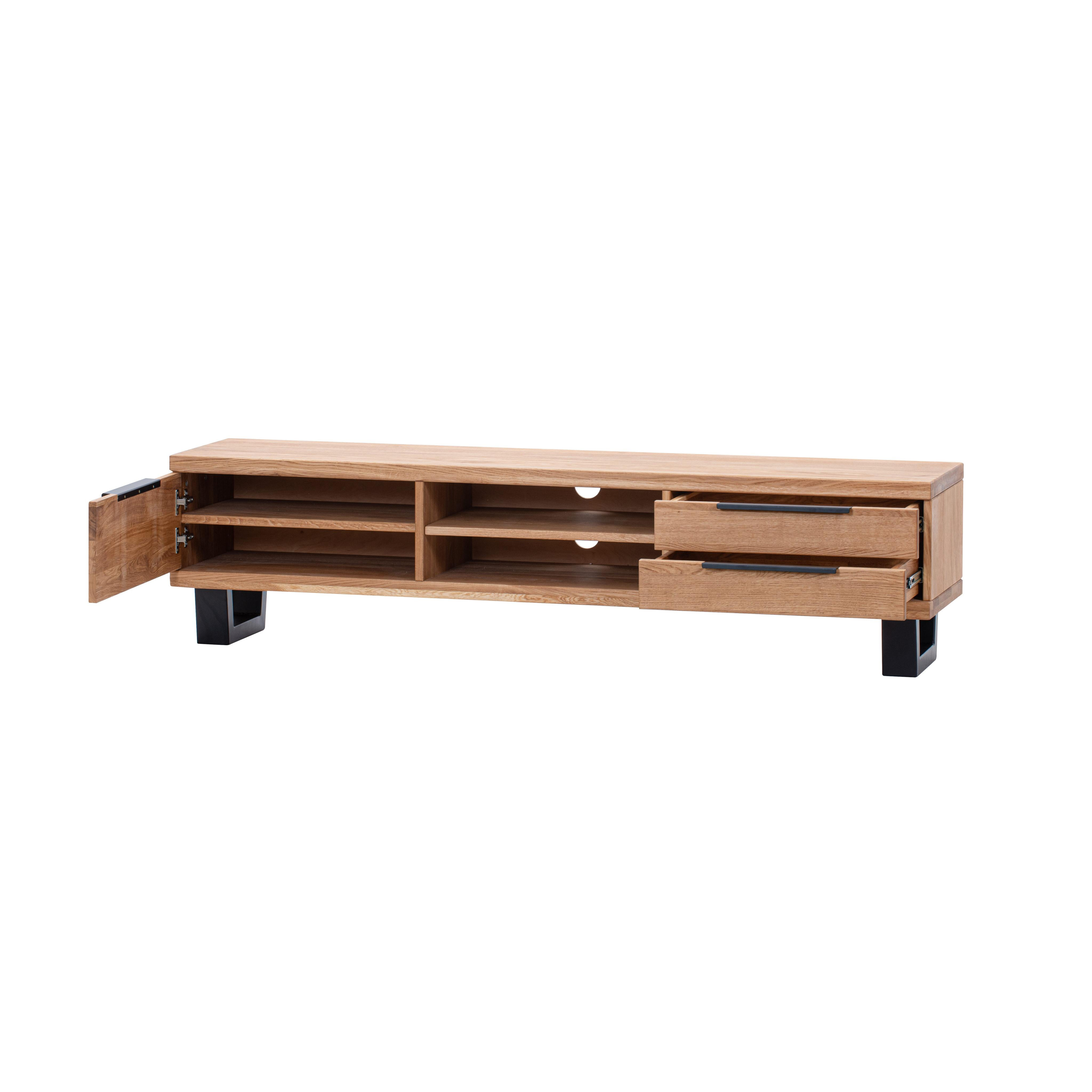 Masívna dubová TV komoda 3Z 2P s kovovými / drevenými nohami