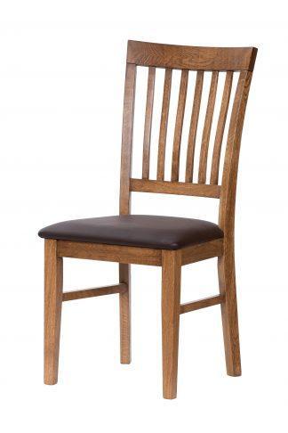 Dubová stolička Raines rustik hnedá koženka