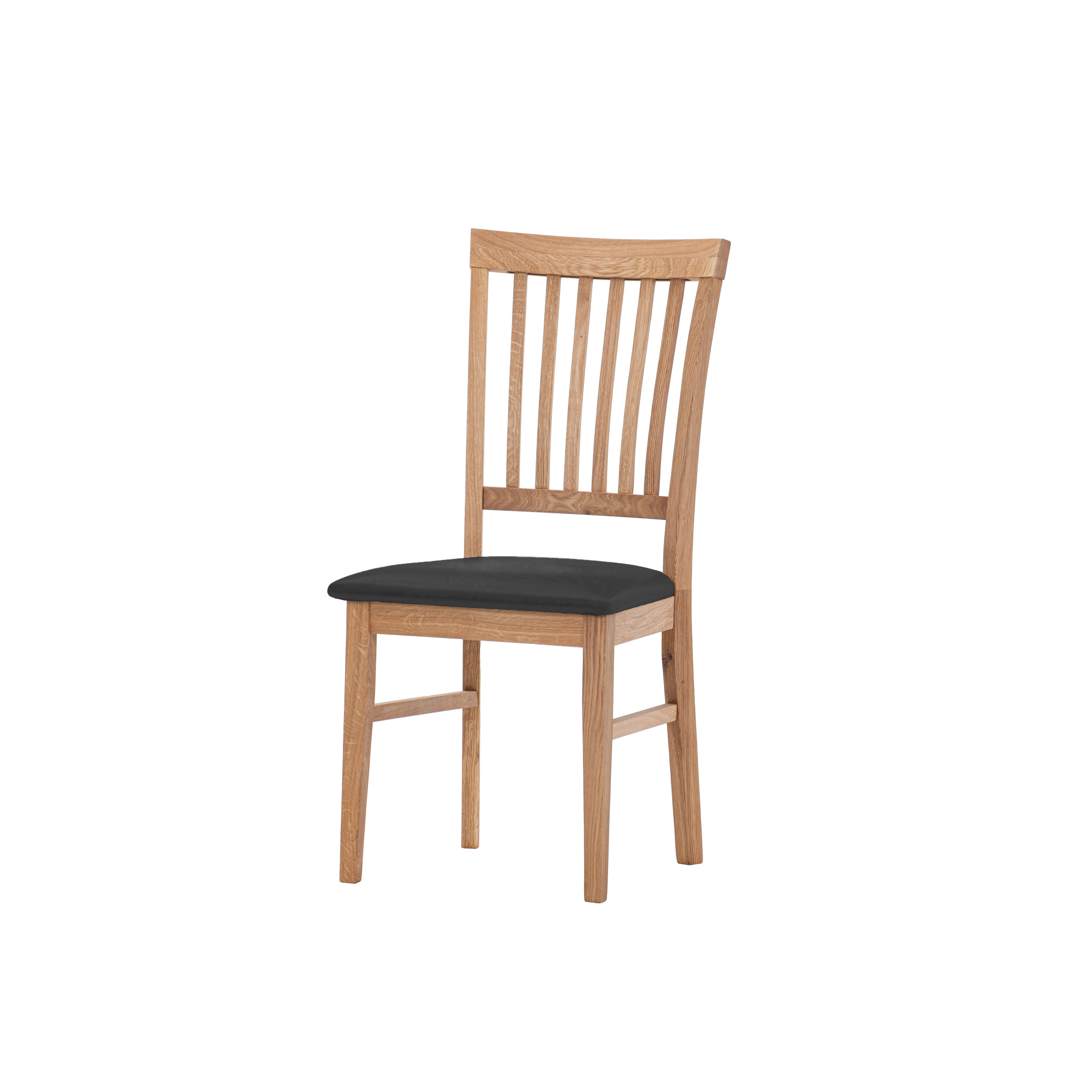 Dubová olejovaná stoličky Raines čierna matná koženka
