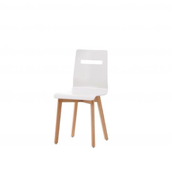 Dubová olejovaná židle Alexis bílá koženka