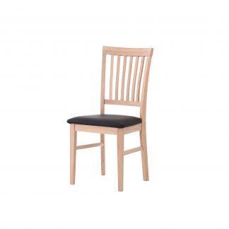 Dubová olejovaná stolička Alexis biela koženka