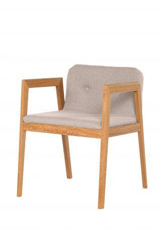 Dubová olejovaná polstrovaná stolička Bloom béžová látka