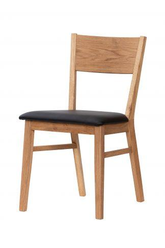 Dubová olejovaná polstrovaná židle Pillar hnědá látka