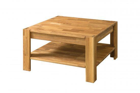 Masivní dubový konferenční stolek 70 s poličkou